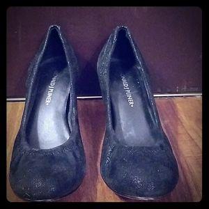 Donald J. Pilner Black Metallic Suede Heels 5 1/2
